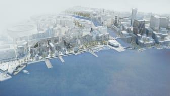 """Visionsbild över Skeppsbron och kopplingen till """"grannen"""" Masthuggskajen ( Kanozie)"""