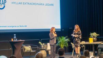 Ann-Christine Gradin, utbildningsdirektör Umeå kommun hyllade årets Nolia Ledarskap, en konferens där hon själv hyllades på scenen.