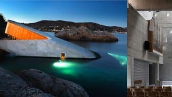 Vinnere av Betongtavlen 2019: Under og Teglen. Foto: Kjartan Bjelland (Under) og Jiri Havran (Teglen)