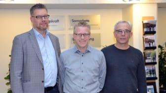 Fredrik Simonsson, Roger Svärd och Leif Olsson, nya försäljningschefer på Nokas Teknik.