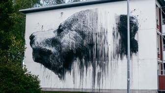 Jussi TwoSeven maalasi kahden kerrostalon päätyseiniin ja sähkökaappeihin sijoittuvan teossarjan Kannelmäessä. Kuva: Iiro Rautiainen.
