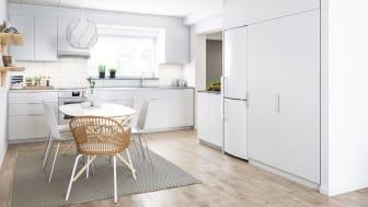 Illustration av interiör, kök, BoKlok-lägenhet 3 rok, 2021.