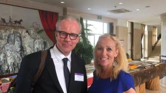 Lennart Nilsson, skogs- och lantbruksråd vid den svenska ambassaden i Peking,  Kina och Johanna Kullman från Norstedts förlag som utnämndes till Världens Bästa Kokboksförläggare, Gourmand Awards 2016. Foto: Pelle Agorelius