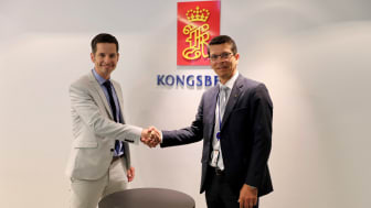 KONGSBERG CEO Geir Håøy (right) and Tristan Halford-Maw, Deputy Director, M&A Rolls-Royce