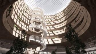 Visionsbild av ljusgården i Kv Forskaren ritad av husarkitekten 3XN. Illustration: 3XN.