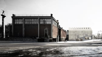 Liljevalchs konsthall med nya delen till höger. (Illustration Wingårdh Arkitekter AB 17082)