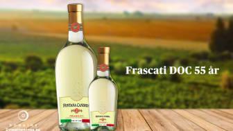 Frascati DOC firar 55 år som appellation. Fontana Candida hyllar appellationen med ny etikett. I butik nu.