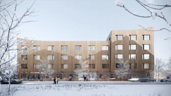 Det särskilda boendet Bangårdsgatan kommer att ligga på södra delen av Storsjö Strand med utsikt mot Storsjön och fjällen.