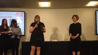 Jennifer Walker speaking after her award in London