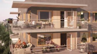 Stora balkonger i härligt läge.