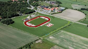 Skissbild över den nya anläggningen med bland annat åtta löpbanor, hoppgropar, kastfält och domartorn.