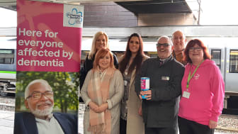 Wolverhampton station staff and local Alzheimer's Society members launching the charity partnership at Wolverhampton station