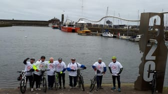 The Go North East cyclists at the start of the coast-to-coast