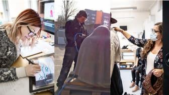 Bildtext: 199 skånska kulturaktörer delar på 9,5 miljoner i extra regionalt krisstöd till kultursektorn. Foto: Emmalisa Pauly, Mattias Givell, Emmalisa Pauly, Nelson Rodriguez Smith
