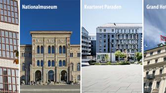 De fyra slutliga bidragen är: (utan inbördes ordning) Parkeringshuset Vårdtornet, Nationalmuseum, Kvarteret Paraden och Grand Hotell