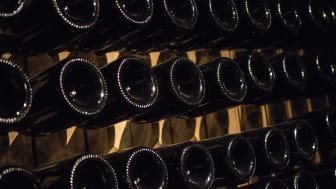 Esslingen: Sparkling wine bottles in the cellar