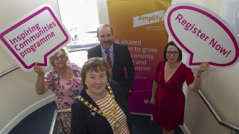 Mayor of Mid & East Antrim Cllr Maureen Morrow pictured with LEDCOM's Audrey  Murray, Ken Nelson & MEABC's Rhonda Lynn