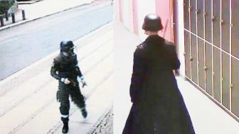 Bilder på Anders Behring Breivik och Anton Lundin Pettersson från övervakningskameror vid dåden i Oslo och Trollhättan.