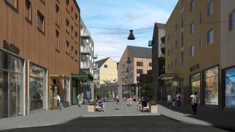 Nu byggs tre nya kvarter i Kirunas nya stadskärna. På uppdrag av Nåiden Bygg ska Assemblin ansvara för samtliga tekniska installationer i projektet: el, värme, sanitet, ventilation och fastighetsautomation. Illustration: Tirsén & Aili Arkitekter