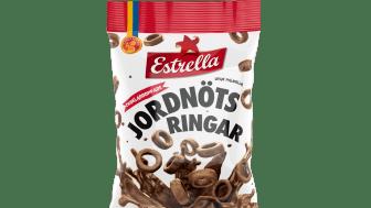 Chokladdoppade Jordnötsringar 100g, ett samarbete mellan Candy People och Estrella, 2021.