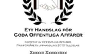 """De nominerade till """"Handslaget"""" – priset för årets offentliga upphandling 2010!"""