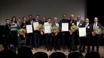 Representanter från vinnarna BipOn, Kivra, Trafikkontoret i Göteborg, Eskilstuna Elektronikpartner samt AP&T.