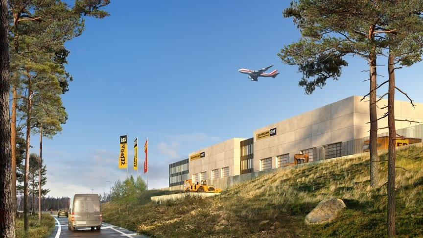 Zeppelin etablerar huvudkontor inom Logistik Park 1 vid Göteborg Landvetter Airport. Foto: Zeppelin Sverige AB