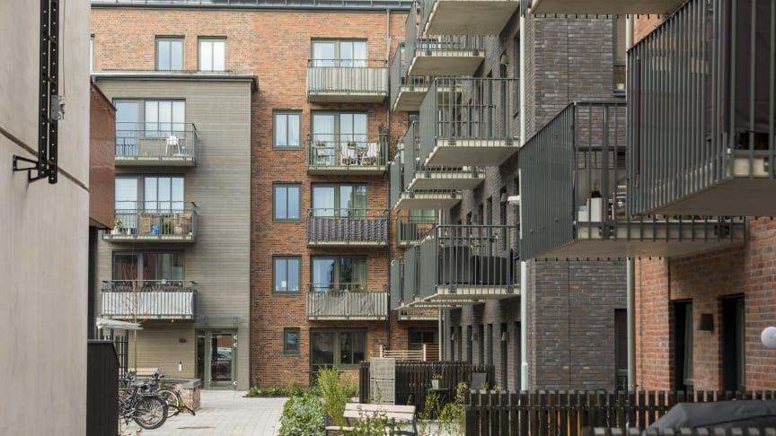 HFAB:s kvarter Lundgrens Trädgårdar färdigställdes 2020. Nu är byggnadsprojektet nominerat till Halmstads arkitekturpris.