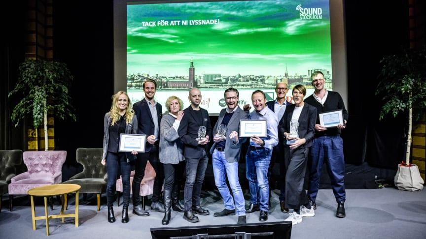 Årets vinnare:  Lexter Ljuddesign, Lars Karlberg med Audio To Me och Radja AB med Alecta. Foto: Resume