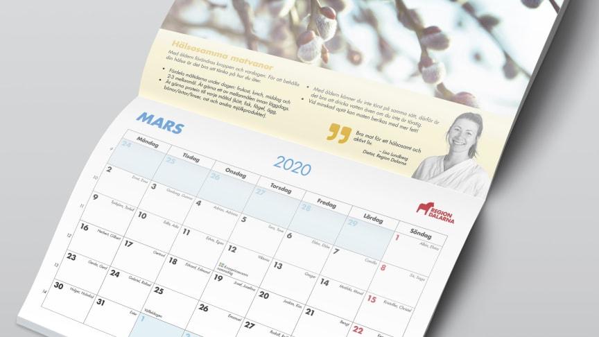"""""""Hälsoalmanackan 2020"""" innehåller information om vård och hälsa och skickas ut till alla i Dalarna som är födda 1949 eller tidigare."""