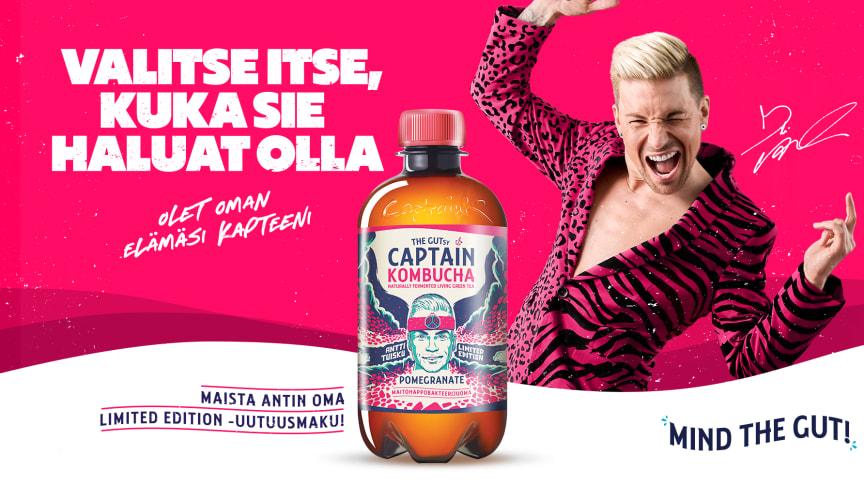 Syksyn odotetuin juomauutuus: Antti Tuiskun ja The GUTsy Captain Companyn Limited Edition Granaattiomena-kombucha