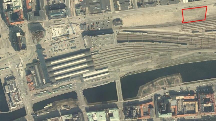 Kvarteret Godsfinkan 3 ligger i den framtida stadsdelen Södra Nyhamnen. Fotot: Malmö stadsatlas.
