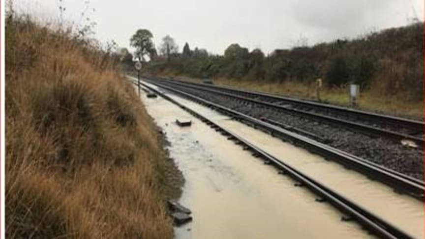Flooding on the tracks at Bromsgrove