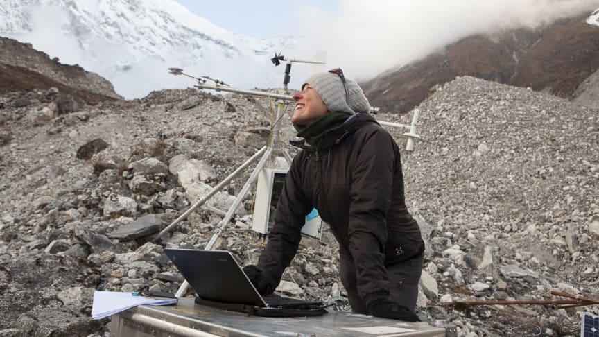 Dr Francesca Pellicciotti on a debris-covered glacier