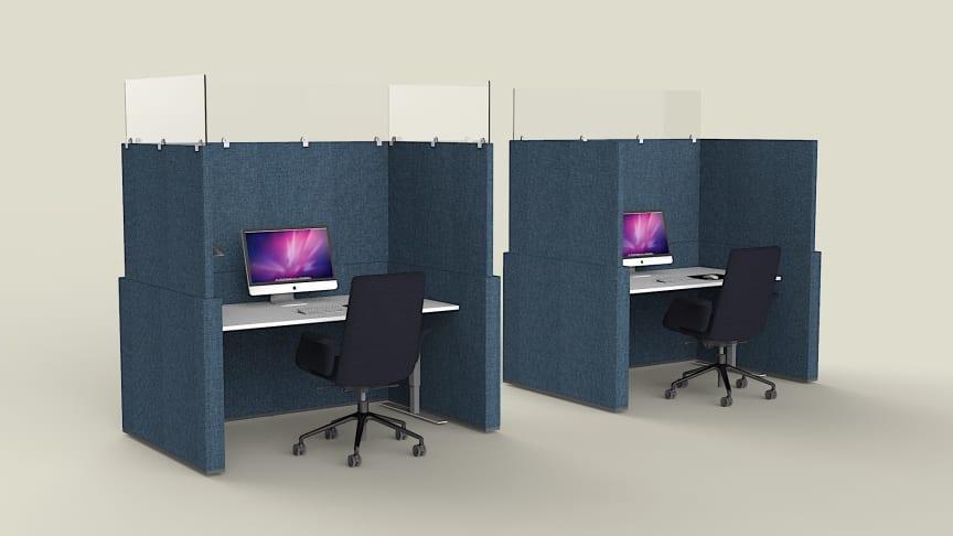 Svenska Mount Design utrustar kontorsbåsen med plexiglas för att klara tyska kontorskraven.