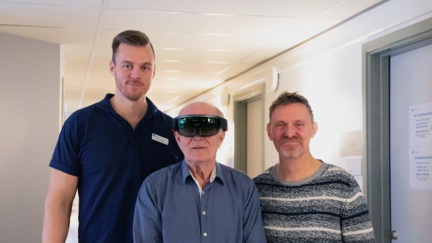 Pontus Jonsson, fysioterapeut Capio, Sune Samuelsson med AR-glasögon, Sven Blomqvist, universitetslektor i idrottsvetenskap vid Högskolan i Gävle