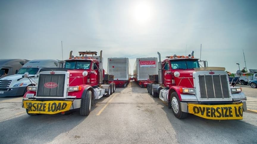 Two American trucks delivered the containers to Fermilab.