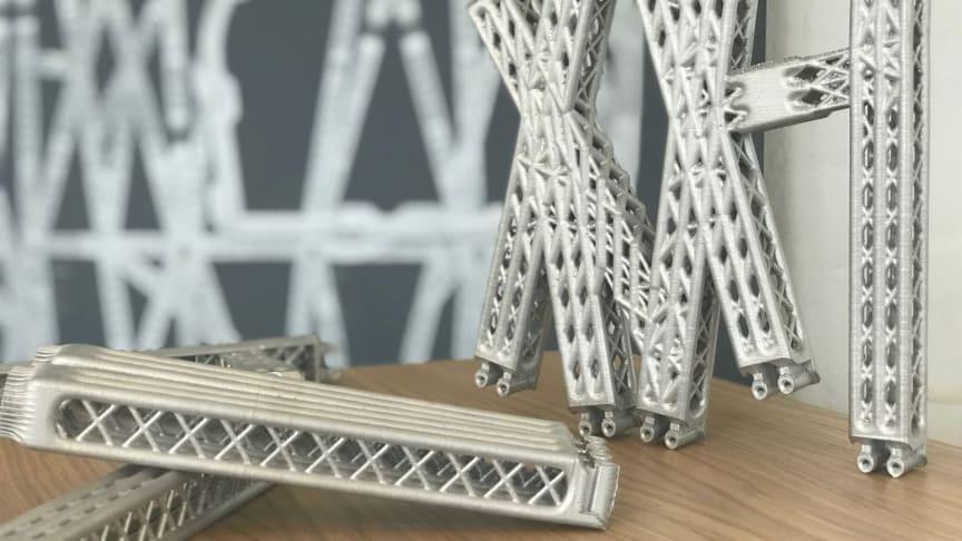 Et stykke af en 3D printet flyvæg fra Airbus 'The Bionic Partition project. Foto: Dansk AM-hub