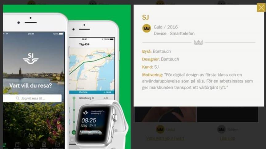 SJs mobilapp vann Svenska Designpriset 2016