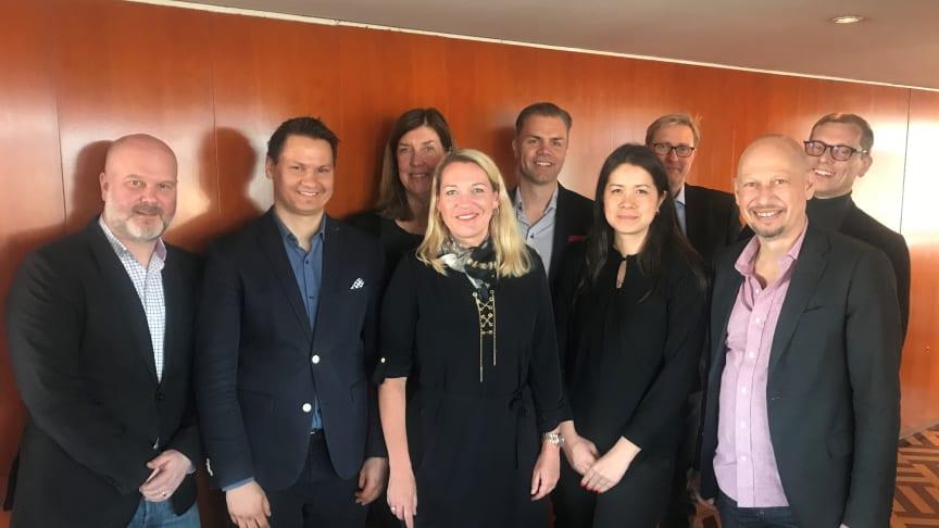 IRM:s styrelse och VD, från vänster: Daniel Collin (Styrelsens ordförande), Tero Marjamäki, Kerstin Neld, Charlotte Thür, Ola Klingenborg, Madeleine Thor (VD), Staffan Rosell, Tobias Lindberg.  Ej närvarande: Malin Häger