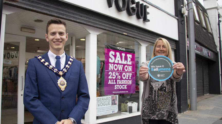The Mayor of Mid and East Antrim, Councillor Peter Johnston, with Joanne McCahon, from Vogue ladieswear in Ballymena.