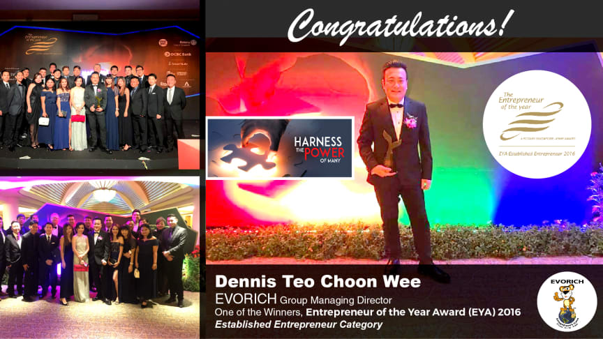 EVORICH Congratulates Group MD as one of the  Entrepreneur of the Year Award (EYA) Winners 2016