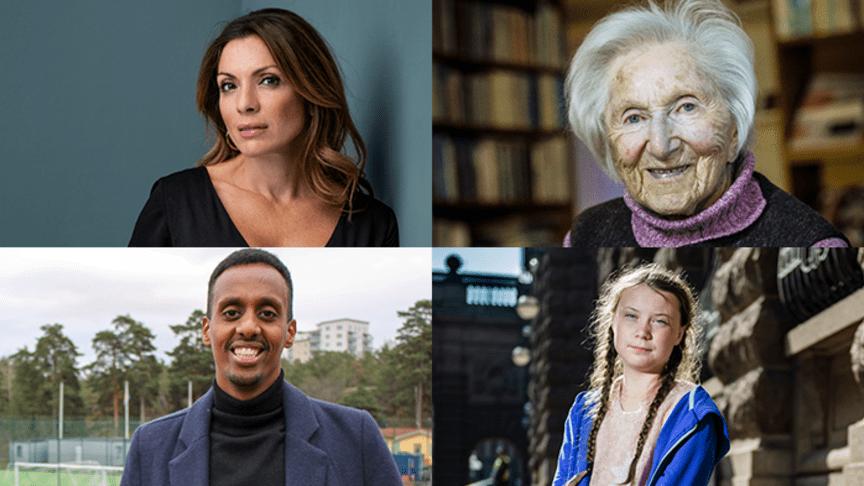 Pristagare: Alexandra Pascalidou, Hédi Fried, Abel Abraham och Greta Thunberg