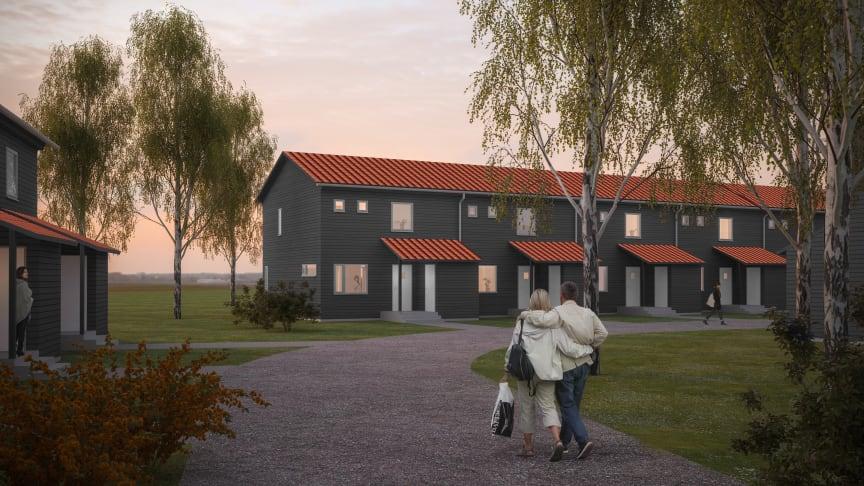 Visionsbild från våra kommande radhus i Gårdsten. Här blir både en- och tvåplanshus.