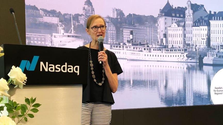 Tillväxtverkets generaldirektör Gunilla Nordlöf höll ett anförande när de tio startupbolagen  deltog i en konferens på teknikbörsen Nasdaq under Startup-Swedens acceleratorprogram på Innovate46 i New York, USA.