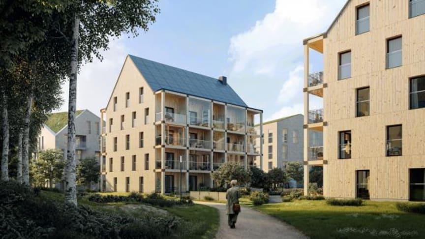De två byggnaderna med 30 lägenheter som väntas få bygglov ska byggas helt av trä och är så kallade passivhus. (Bild: Kjellgren Kaminsky och ETC bygg AB)