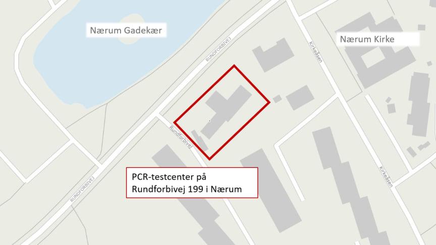 Det nye PCR-testcenter er placeret på Rundforbivej 199 i Nærum