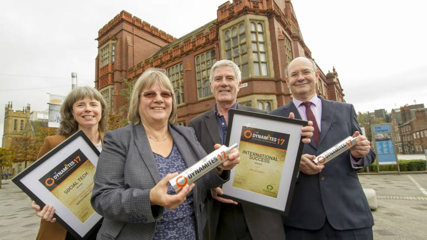 Dr Amy Stabler, Prof. Becky Strachan, Prof. Dave Greenwood and Prof. Glen McHale pictured with the Dynamites17 awards