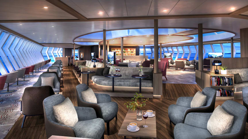 UNIQUE DESTINATIONS - UNIQUE VIEWS: Following a total 2020 upgrade, guests on board MS Finnmarken can enjoy the spectacular views through panoramic windows on her new Explorer Lounge & Bar. Photo: Hurtigruten