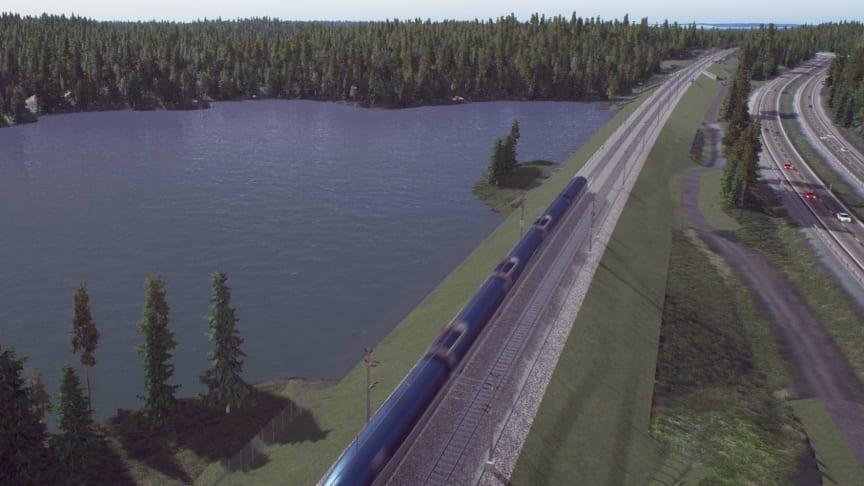 Bild på Uttersjön från Trafikverkets video